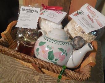 Floral Tea Pot Gift Basket, ceramic teapot, scones, shortbread, herbal tea, infuser, gift set, basket tray