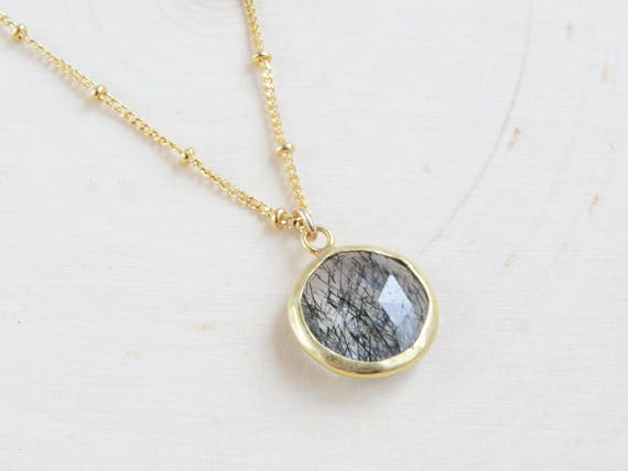 Black Rutilated Quartz | Gemstone Necklace | Crystal Necklace | Boho Necklace | Black Rutile Jewelry | Gift for Her | Layering Necklace