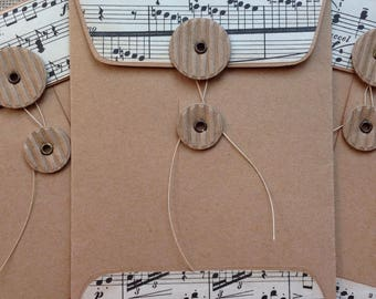 Handmade Coin Envelope/Vintage Music/Junk Journal/Gift Card Holder