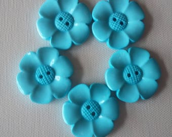 SALE Lot of 5 Flower Buttons - 40mm-  Pale turquoise WAS 5.00 NOW 4.00