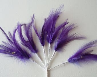 6 x Purple Feather Sprig With 3 diamantes