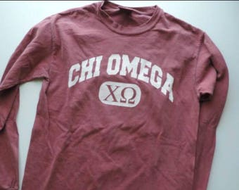New Chi Omega Comfort Colors Long Sleeve Shirt // Size S-2XL // You Pick Color