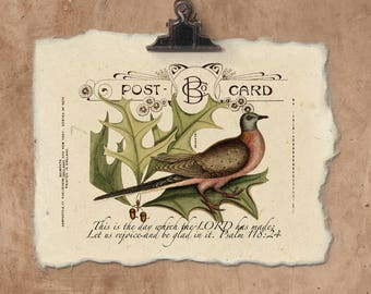 Artisan Psalm 118:24 Bird Handmade Paper Print.