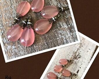 ON SALE Earthy gemstone 6 pcs pink peach jade teardrop wire wrapped dangle drop charms