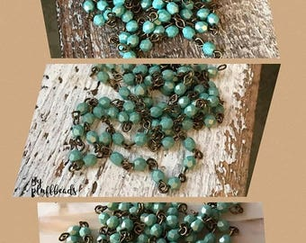 ON SALE Handmade Linked Beaded Chain 4mm Silky MINT Julip Faceted European Glass Beads