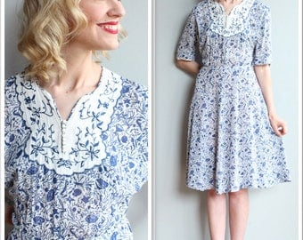 1940s Dress // Under the Sea Rayon Dress // vintage 40s dress