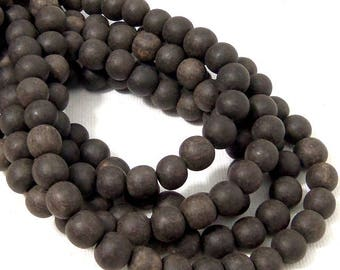 Unfinished Ebony Wood Bead, 8mm, Near Black, Round, Small, Natural Wood Bead, 16 Inch Strand - ID 2356-BLK