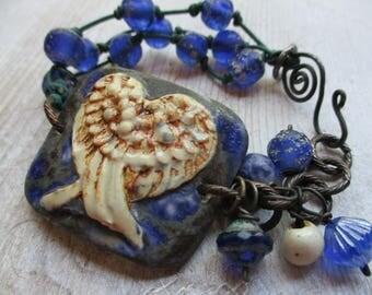 Denim Ceramic Bracelet Cuff Wings Blue Jean Blue