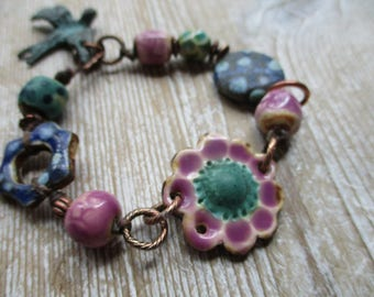 Earthy Pottery beaded Bracelet One of a kind Pink Purple Spring Jewelry