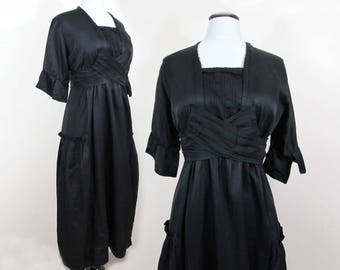 Edwardian Black Silk Dress - ca 1915 high waist, bell sleeves - possibly mourning dress - S