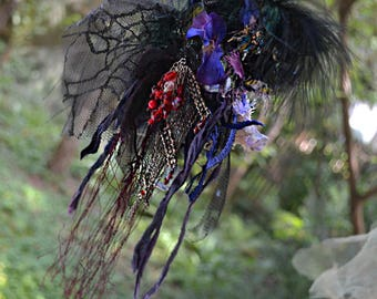 RESERVED Unique Swamp Dep Forest Large Brooch Awful Spiders Black Lace POISONOUS Red BERRIES Fairy Gothic  Victorian  Tattered