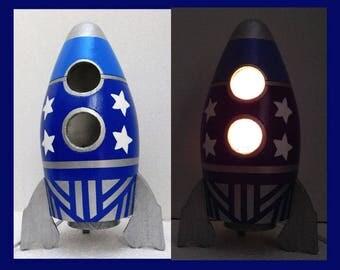 Rocket Ship, Boys Nightlight, Table Lamp Rocket ship, Boys Room, Lighting, Home Decor, Night Light, Gift, Blue,