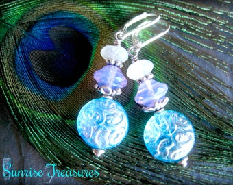 White Moonstone Earrings, Gemstone and Czech Glass Dangle Earrings, Sterling Silver, Irididescent Turquoise Blue, Lilac, Gemstone Jewelry