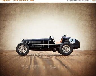 FLASH SALE til MIDNIGHT Black No.7 Vintage Race Car, One Photo Print, Boys Room decor, Vintage Car Prints