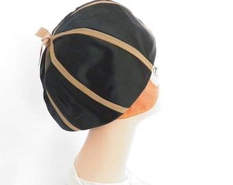 1960s black hat, vintage bubble helmet, black and brown, Mr. John Jr.