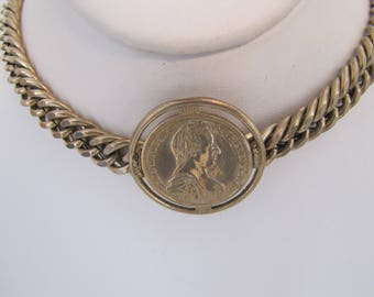 Vintage Miriam Haskell Antique 1780 Maria Theresa Austria Coin Choker Necklace. Collar Length Gold Plated Heavy Curb Chain Haskell Necklace.