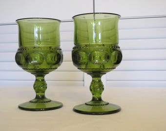 vintage Green Pressed Glass Footed Cordials - set of 2