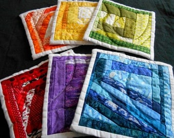 Rainbow Coaster Set, quilted coasters, fabric coasters, coaster set, rainbow coasters, soft coasters