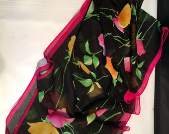Pretty Silk Tulips on Black Scarf