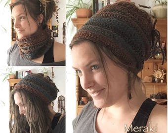 3 in 1 Cowl, Dread Tube, Beanie Hat, Crochet Scarf, Head band, Hat
