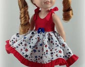 Dress fits dolls such as wellie wishers doll clothes. 14.5 inch doll dress and bloomers