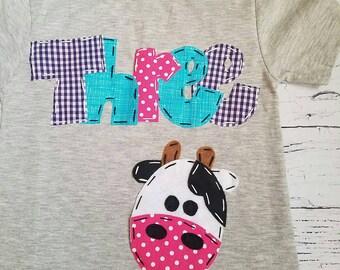 3 cow birthday shirt, 3rd barnyard birthday shirt, three, horse, 3rd, t shirt, barn yard, farm theme, girl black shirt
