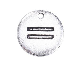 "10 pcs. Antique Silver Circle ""Equal"" ""=""Charms Pendants - 15mm"