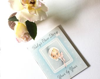 Vintage, Baby's Own Story, Memory Book, Shower Gift, Journal, Family History, Baptism Gift,  Album