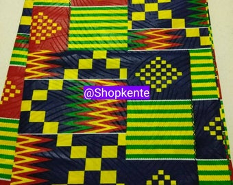 Red, green yellow mix kente print fabric per yard/ African kente print fabric/ Kente bow ties/ kente stoles/Kente Weddings/ Kente Cloth