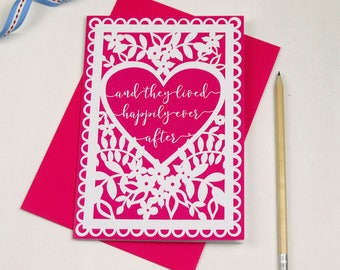 Wedding, Engagement or Anniversary Card, And They Lived Happily Ever After Printed Wedding Card, sku_WP018