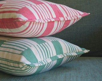 Green Graphic Stripe Pillow Cover , Cotton Woven Stripe Cushion Cover in Green and Off White, Woven Stripe Pillow Cover in Green & Off White