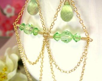Green triangle chandelier chain earrings, green Swarovski crystal and peridot chain dangle earrings