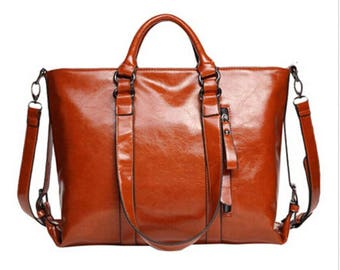 LARGE Travel Bag Brown Genuine LEATHER Oiled Long Strap