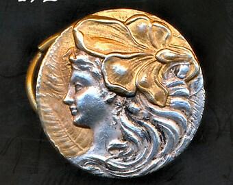 Antique Art Nouveau Silver Button