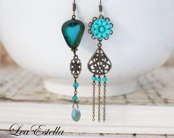 Blue Asymmetrical earrings Ocean earrings Turquoise Floral earrings Mismatched Earrings Rustic Mermaid earrings Boho earrings - Mare