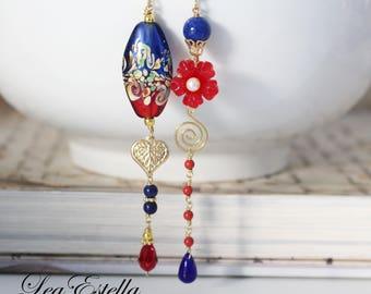 Red Asymmetrical earrings Red Floral earrings Garden Earrings Red Mismatched earrings Red and blue earrings Woodland earrings - Summer Heat
