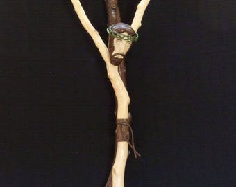 Wall Crucifix of Branches & Clay