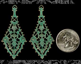 Long Verdigris Plated Brass Filigree Wrap Set of Two * V-W04
