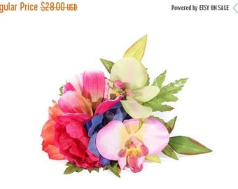 FLASH SALE Tropical Orchid Peony and Hibiscus Pinup Hair Flower Fascinator Clip