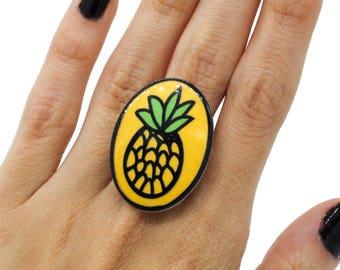 SALE Pineapple Oval Resin Adjustable Statement Ring
