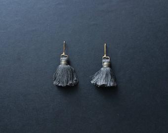 SAMPLE Storm Gray Mini Tassel Earrings