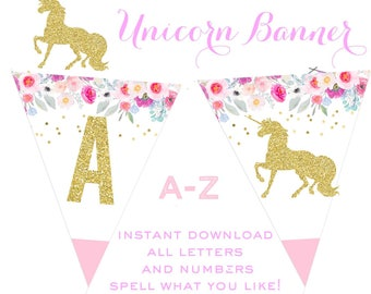 Unicorn Banner - Unicorn instant download banner - Unicorn decorations - Rainbow banner - Gold unicorn banner - Printable unicorn banner
