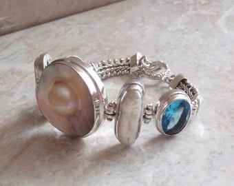 "Chunky Sterling Silver Bracelet Blue Topaz Mabe Pearl 7-1/2"" Inch Statement Vintage V0441"