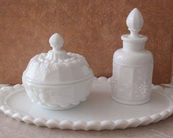 Westmoreland Vanity Set White Milk Glass Three Pieces Paneled Grape Vintage