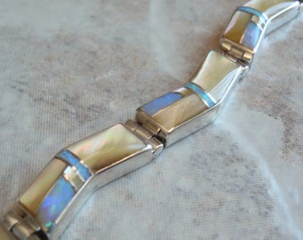 Inlaid Opal Bracelet Gold Lip Mother of Pearl Navajo 7 Inch Bitsie Vintage E0089