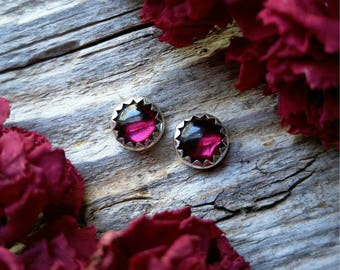 Garnet Stud Earrings 6mm Sterling Silver Red Stone Gemstone Post 925 Jewelry January Birthstone
