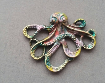 Octopus Charm HandAltered patina painted abstract steampunk gothic