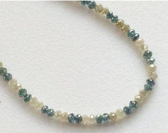 ON SALE 55% Blue & Yellow Sparkling Diamonds, Faceted Diamond Beads - Conflict Free Diamonds - Approx 3mm, 1.5 CTW, 11 Pcs