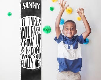 """Custom/ Personalized Black and white """"It takes courage to grow up"""" growth chart- boy, girl, or gender neutral nursery or baby shower gift"""