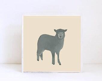 farmhouse nursery art, black sheep- baby girl nursery- barnyard animal, boho baby nursery decor- kids playroom- farm art- redtilestudio